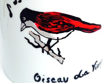 Mugs -- CREOLE BIRDS, La Réunion Island // Made to Order // -- Set of 2 Handpainted porcelain mugs by SophieLDesign