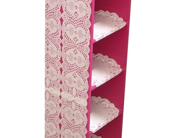 Shelf -- Small size, THE LACEMAKER -- Fuchsia pink high shelf, upcycled, handpainted and customized by SophieLDesign