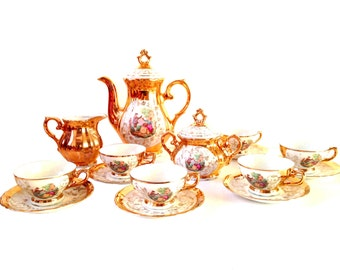 Tea set, 9 pieces, GOLD HIGH TEA -- Italian made porcelain, gold with baroque 18th century miniatures, vintage by SophieLDesign
