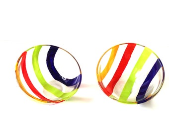 Bowls SUMMER -- 2 asymetric glass bowls, handpainted MULTICOLORED by SophieLDesign