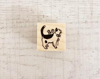 Cat and Star / Original Rubber Stamp / Designed by Krimgen