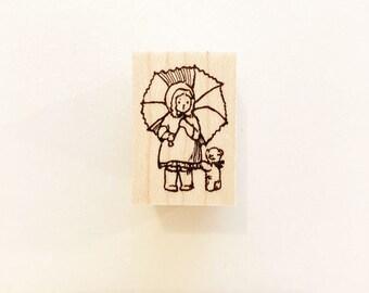 No.116: Child with Umbrella / Rubber Stamp/ Designed by Krimgen/