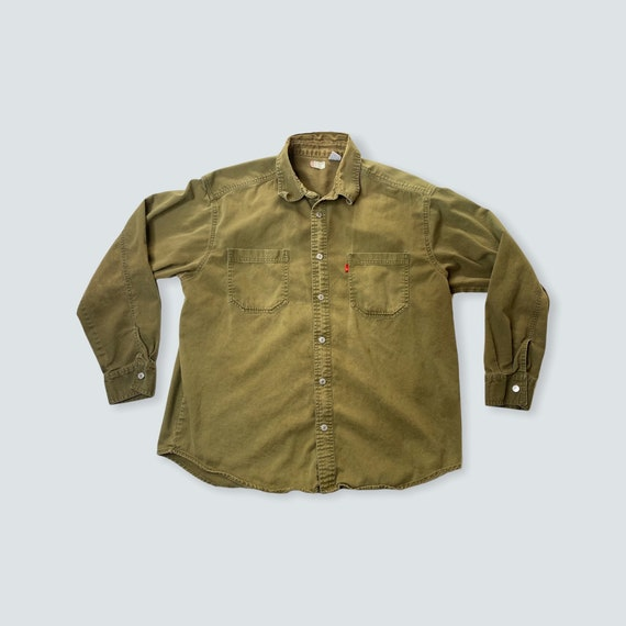 vintage shirt LEVIS work wear 1990s thrashed dist… - image 1