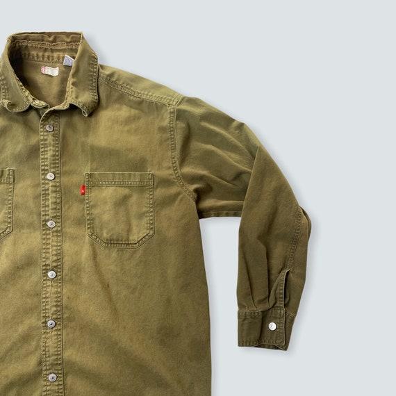 vintage shirt LEVIS work wear 1990s thrashed dist… - image 4