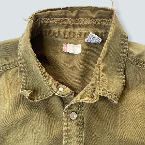 vintage shirt LEVIS work wear 1990s thrashed dist… - image 3