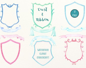 Hand Painted Watercolor Crest Frames And Ribbons For Instant Download Diy Wedding Family Branding