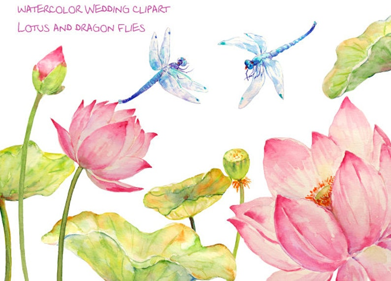 Wedding Clipart Watercolor Pink Lotus Flowers Leaves And Etsy