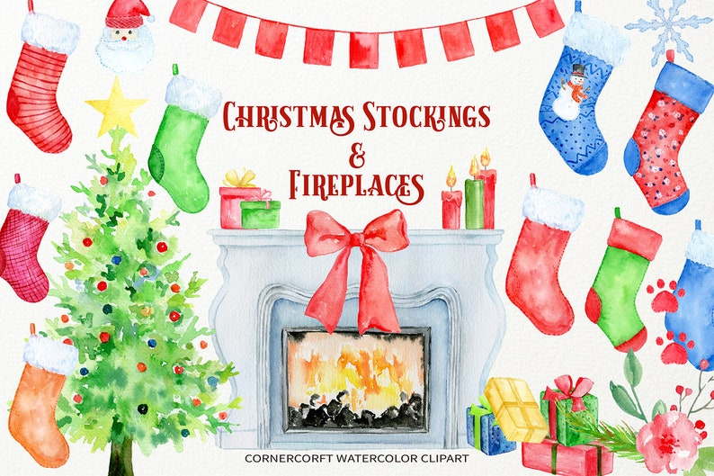 Watercolor Christmas Stocking, Fireplace, Christmas Tree Instant Download
