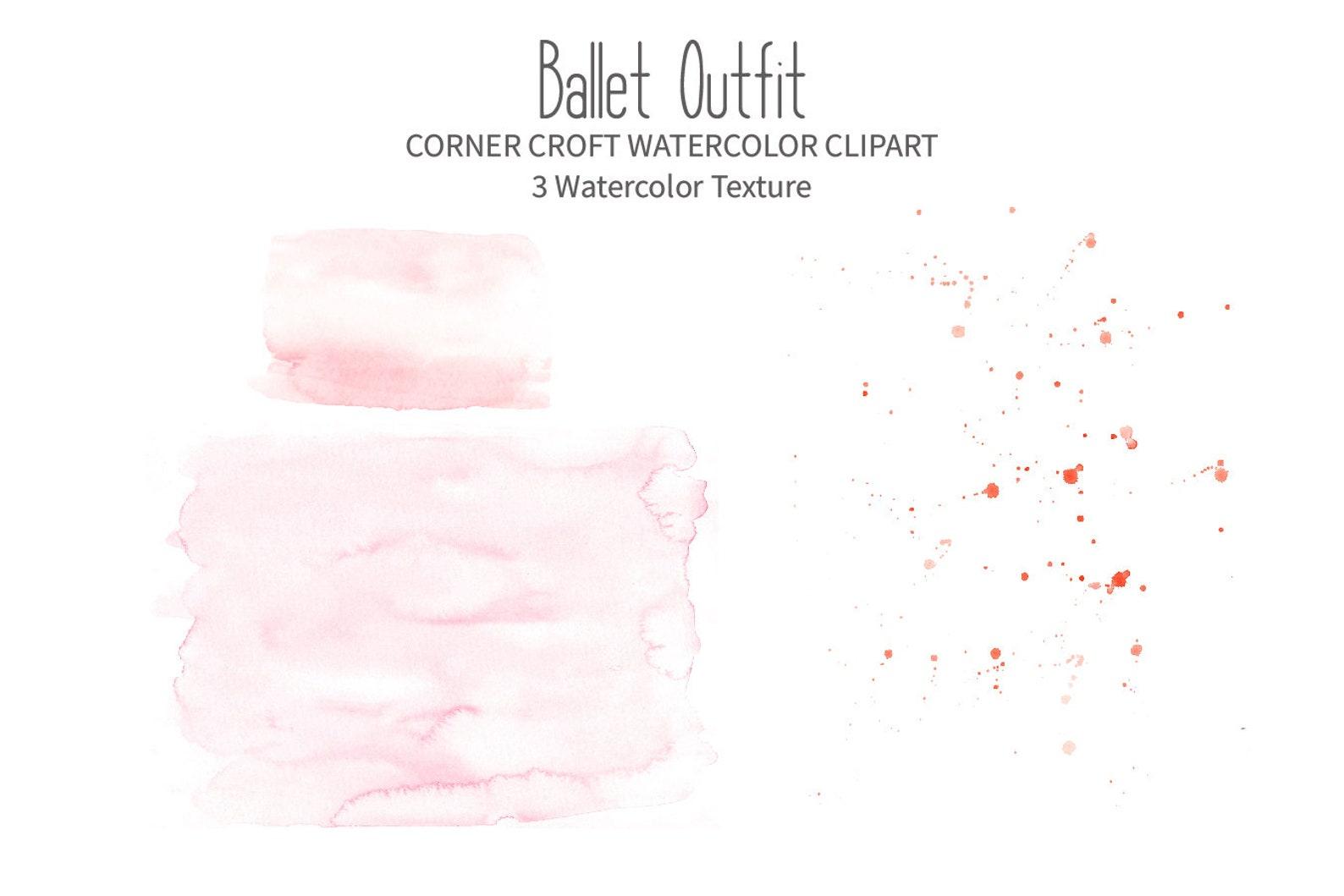 watercolor ballet outfit clipart, ballet shoes, ballet costume, ballet dress, tutu, instant download