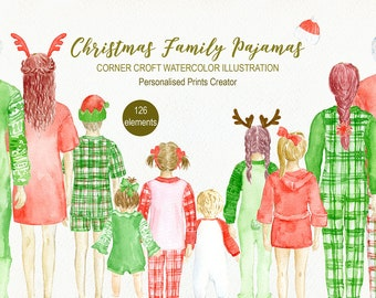 Christmas Family Pajamas Clipart  for instant download