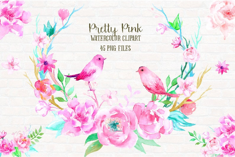 pink peonies Watercolor clipart Pretty Pink birds and floral arrangments for instant download