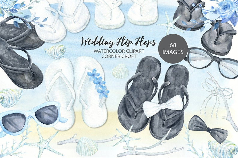 2b017217d9eb4 Wedding flip flops clipart, watercolor sandals, white flip flops, black  flip flops, summer wedding shoes clipart