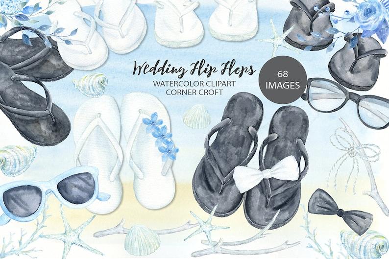 00414980a Wedding flip flops clipart watercolor sandals white flip | Etsy