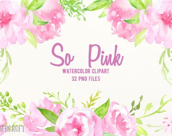 Watercolor Clipart So Pink - pink peonies, pink flowers, decorative elements and flower posies for instant download