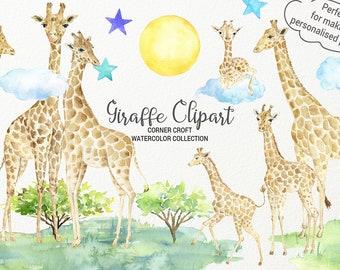 Watercolor giraffe clipart, watercolor giraffe figurines, giraffe printable, giraffe family instant download