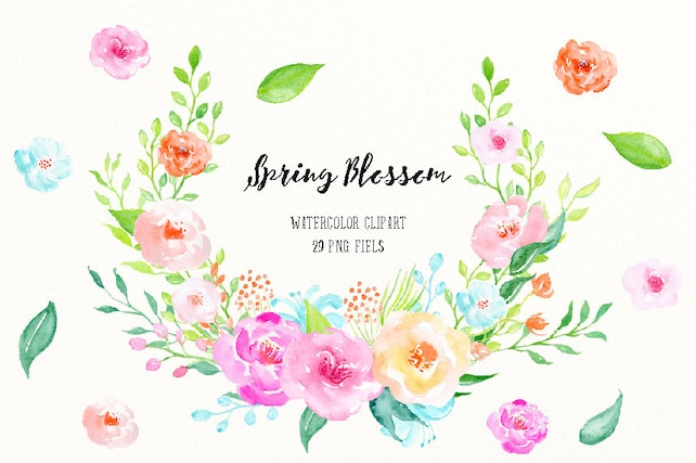 Watercolor clipart spring blossom spring flowers and etsy image 0 mightylinksfo
