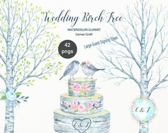 Wedding Birch Tree Watercolor Clipart - large guest signing tree, bare birch tree branch, birch logs and flowers for instant download
