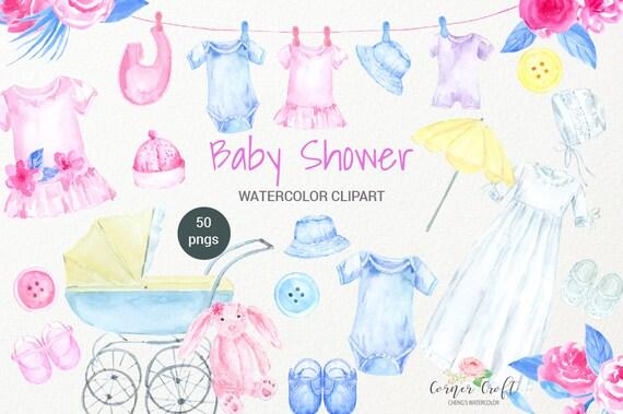 Aquarell Baby Dusche Clipart Babytuch Lätzchen Mütze Etsy