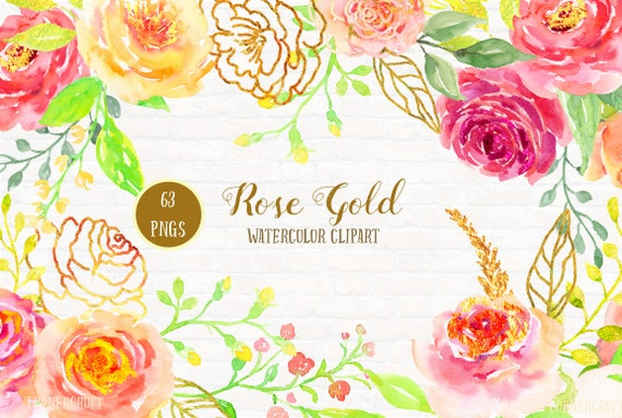 Rose Clip Art Watercolor Rose Gold pink peach gold rose | Etsy