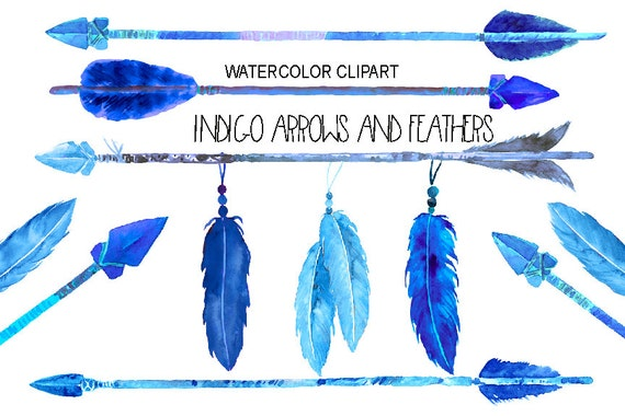 watercolor indigo arrows and feathers for instant download etsy