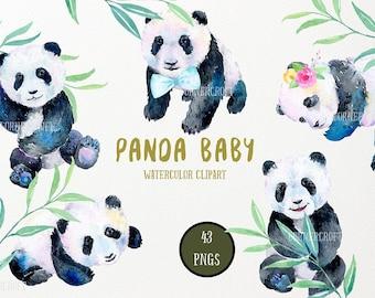 Panda Clipart, Watercolor Clipart Panda Baby instant download, panda clip art
