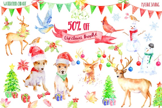 Download Christmas Cards.Watercolor Clipart Christmas Bundle Sale 50 Off Massive Savining Christmas Decorations Instant Download Greeting Cards Art Prints