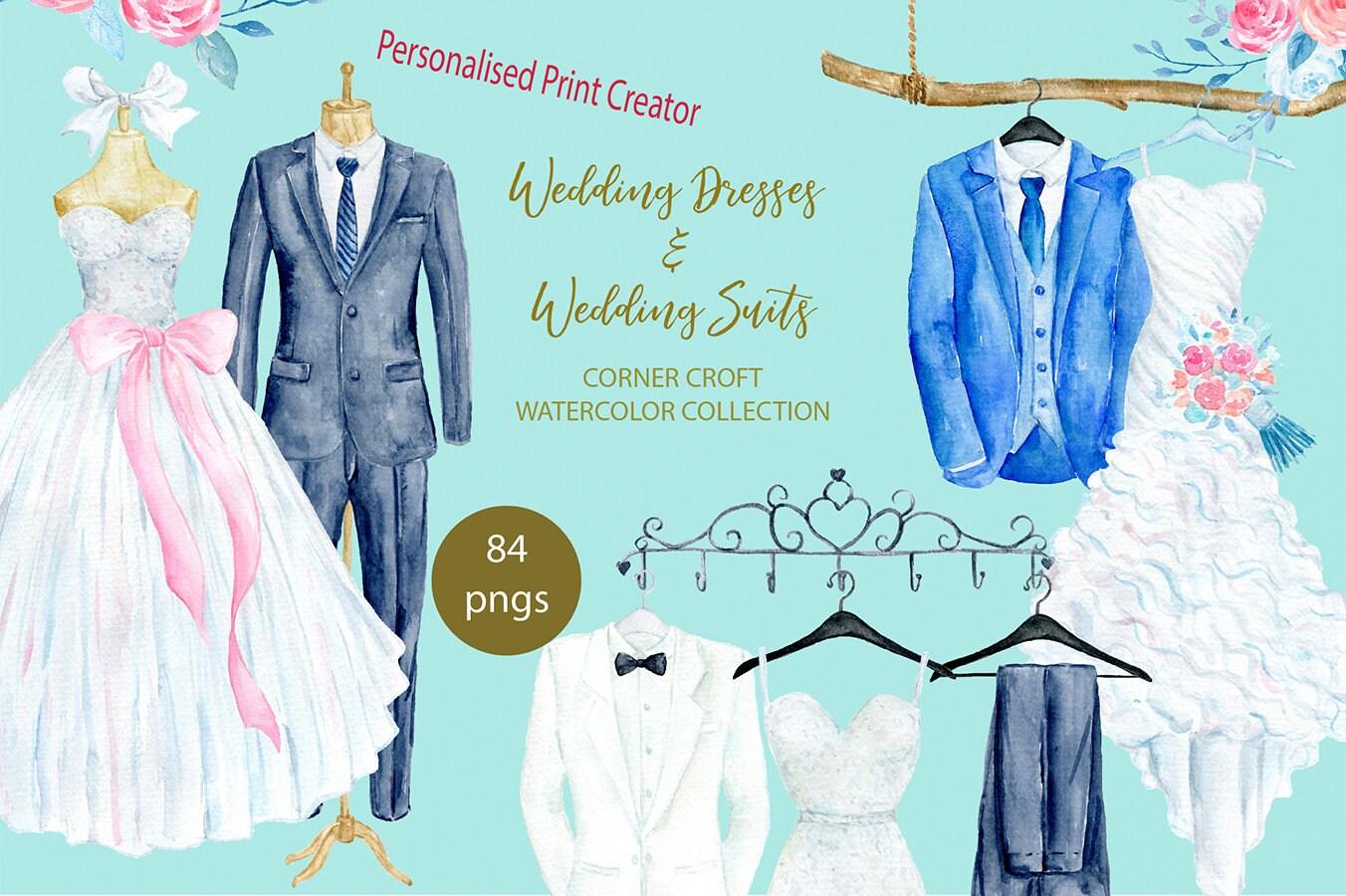 Watercolor wedding dress wedding suit personalised print | Etsy
