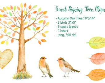 """Wedding Clipart - Watercolor autumn oak guest signing tree  10""""x14"""", printable instant download"""