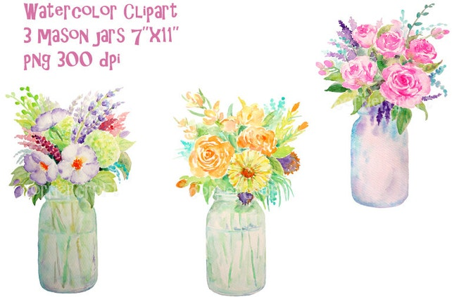 Hand Painted Watercolour Vase Of Flowers Mason Jars Digital Etsy