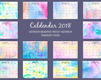 2018 Calendar printable - monthly calendar - A4 size - abstract watercolor landscape instant download scrapbook