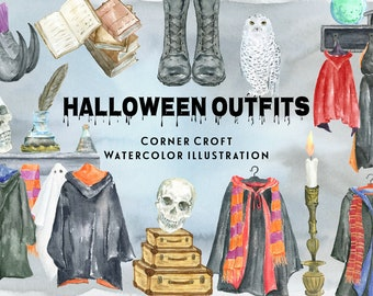 Halloween outfit, halloween coat, black cloak, scarf, tie, witch shoes, snowy owl, personalised print creator, instant download