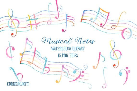 Watercolor Clip Art Musical Notes Musical Symbols Colorful Etsy