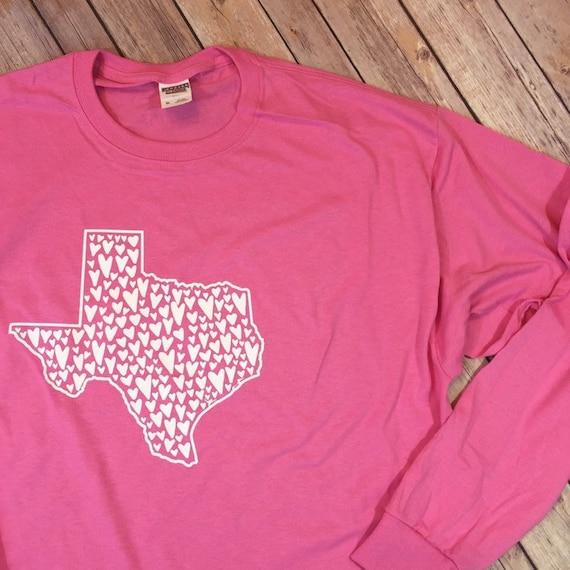 Texas love texas hearts texas home shirts PINK white long sleeve TX