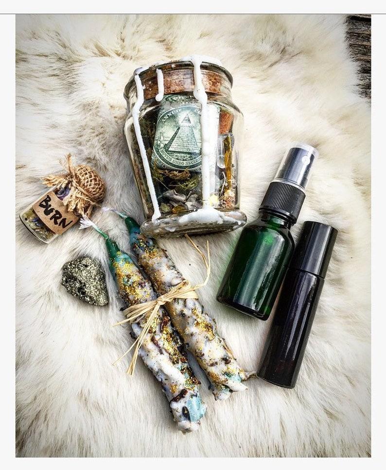 Money Manifest Spell Kit- Intention bottle/Altar jar/ Ritual  tools/Candles/Essential Oils/Sigil