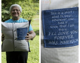 Memorial grief pillow, Memory pillow, memorial pillow made from a loved ones clothes, Memory pillow from shirt, Bereavement gift, Grief