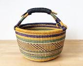 Ghana Market Basket- Sakpa II Bolga Basket African Woven Grass Basket Leather Handle Basket