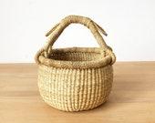 Ghana Small Market Basket- Cape Coast II Bolga Basket African Woven Grass Basket Vegan Basket