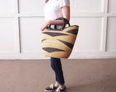 Market Tote- Sunyani Ghana Bolga Basket African Woven Grass Basket Leather Handle Basket