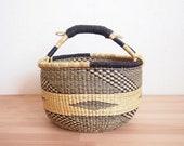 Ghana Market Basket- Volta Bolga Basket African Woven Grass Basket Leather Handle Basket