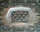 Anchor Hocking Glass Co Rectangular Criss Cross Bubble Handle Retro Serving Relish Dish Butter Tray