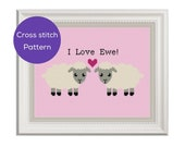 I Love Ewe Cross Stitch Pattern