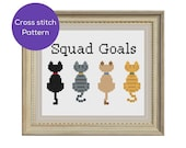 Cat Squad Goals Cross Stitch Pattern