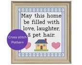 Home is Where the Pet Hair is Cross Stitch Pattern