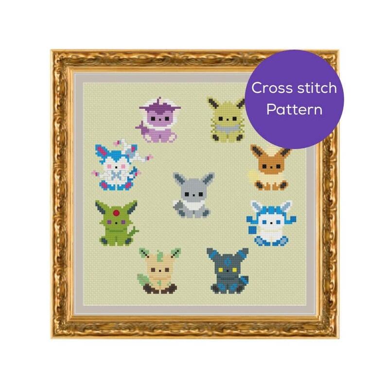 Shiny Eeveelution Cross Stitch Pattern image 0