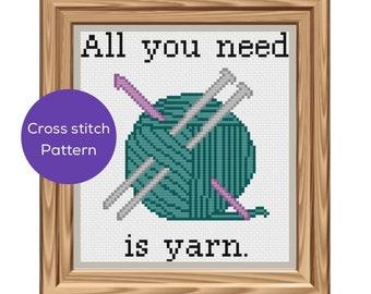 All You Need is Yarn- Knit/Crochet Cross Stitch Pattern