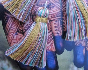 Gold Wrap Tassel Rainbow Silk Mix Tassel Unique Tassel for Malas Tassel Necklace Charm Rainbow Multicolor Tassel Mala DIY Jewelry Supply