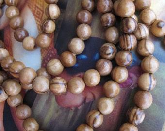 108 Olive Wood Mala Beads Dark Genuine Natural Olive Wood Beads 8mm Healing Mala Beads Wooden Necklace Bead Jewelry Supply Brown Wood Grain