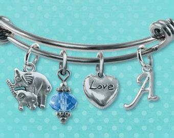 3da074e99cc6 Elephant Charm Bracelet Bangle Unique Silver Jewelry Heart Birthstone  Initial Gift