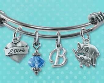6a308f955f2e Elephant Charm Bracelet Bangle Unique Silver Heart Jewelry Birthstone  Initial Gift