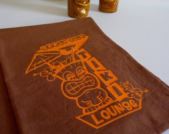 Tiki Lounge Tea Towel in Bright Orange